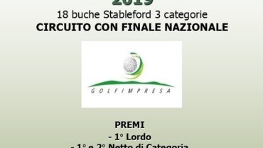 TROFEO GOLFIMPRESA 2019 – 18 buche Stbl 3 cat.